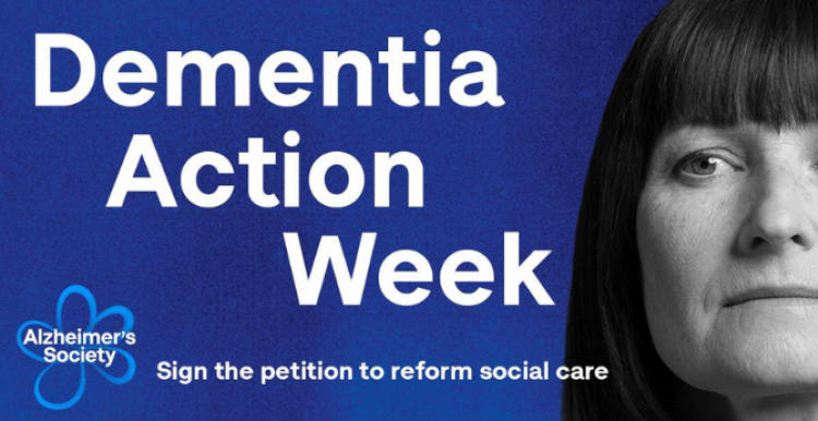 A black and white woman's face. Text reads: 'Dementia Action Week'