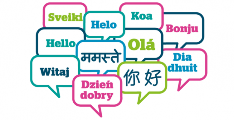 Colourful speech bubbles with the word 'Hello' in different languages
