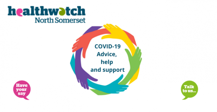 Healthwatch North Somerset logo and a circle of multicoloured hands. The text reads COVID-19 Advice, help and support