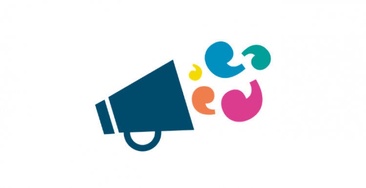 Blue megaphone with Healthwatch speech marks coming out