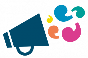 Graphic of a megaphone with speech marks coming out