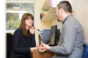 Patient talking to GP