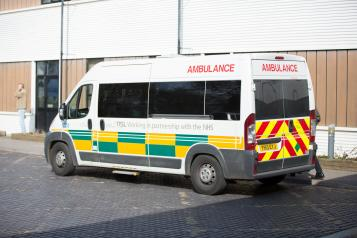 Ambulance outside an Accident & Emergency department