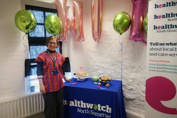 2020 Launch event - area lead with cake and balloons