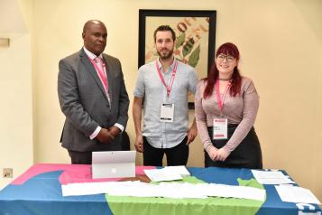 Staff at an indoor Healthwatch event