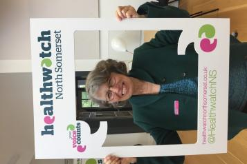 Our Chair - Georgie Bigg with a selfie frame