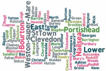 North Somerset word jumble made up with place names from within North Somerset