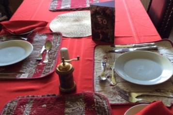 Photo of the table laid for dinner for two
