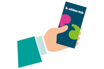Hand holding Healthwatch leaflet