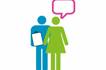 Healthwatch man and woman discussing report