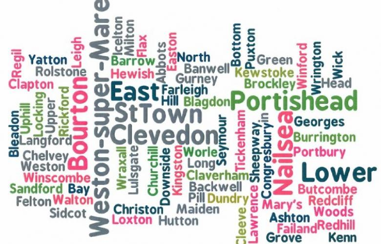 Word jumble of all the towns and villages in North Somerset