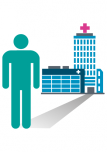 Healthwatch icon man standing in front of a hospital