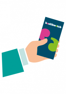 Healthwatch icon hand holding leaflet